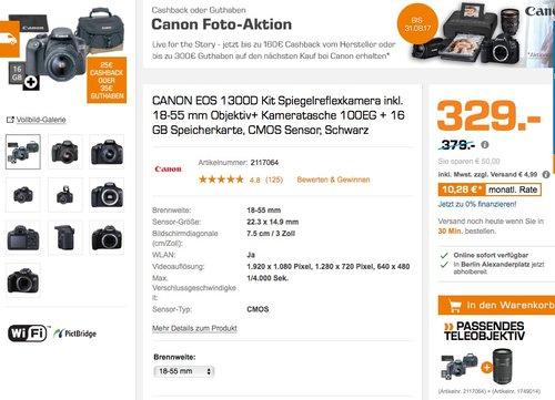 CANON EOS 1300D Kit Spiegelreflexkamera inkl. 18-55 mm Objektiv - jetzt 7% billiger