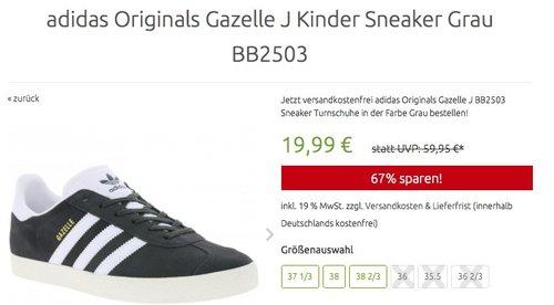adidas Originals Gazelle J Kinder Sneaker Grau  - jetzt 49% billiger