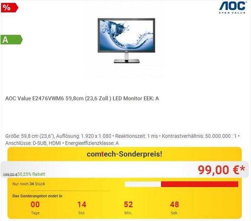 AOC E2476VWM6 59,9 cm (23,6 Zoll) Monitor - jetzt 23% billiger