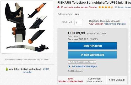 Fiskars  Teleskop-Schneidgiraffe mit Adapter-Baumsäge - jetzt 21% billiger