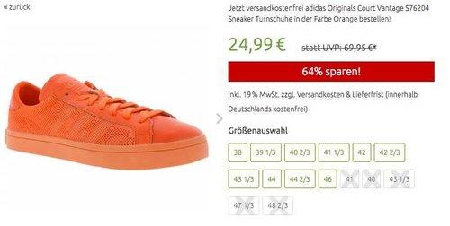 adidas Damen Originals Court Vantage Sneaker Orange - jetzt 37% billiger