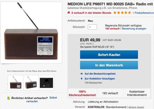 MEDION LIFE MD 80025 Digital Radio mit Bluetooth-Funktion und DAB+  - jetzt 38% billiger
