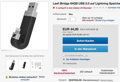 Leef - iBridge Mobile Memory 64GB  - jetzt 10% billiger