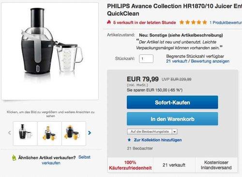 Philips HR1870/10 Entsafter (2 Geschwindigkeiten, 900 Watt) schwarz - jetzt 48% billiger