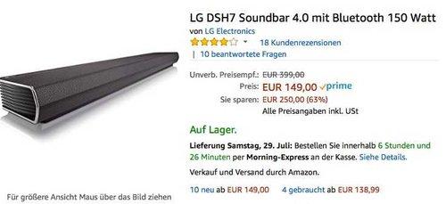 LG DSH7 Soundbar 4.0 mit Bluetooth 150 Watt - jetzt 24% billiger