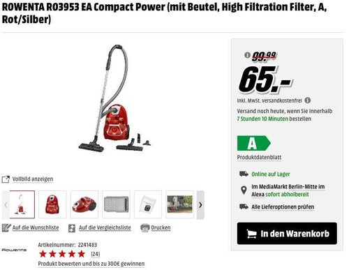 ROWENTA RO3953 EA Compact Power (mit Beutel, High Filtration Filter, A, Rot/Silber) - jetzt 31% billiger