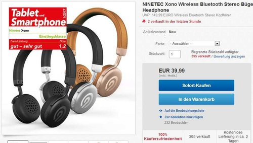 NINETEC Xono Wireless Bluetooth Stereo Bügel-Kopfhörer Headset HIFI Headphone - jetzt 33% billiger