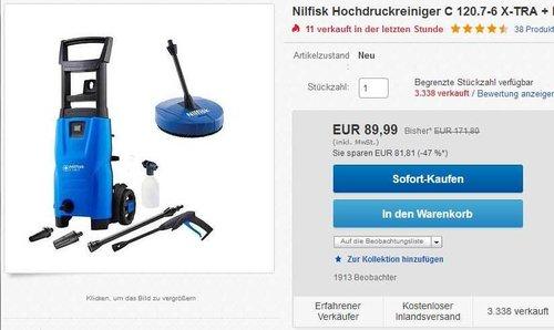 Nilfisk Hochdruckreiniger C 120.7-6 X-TRA + Flächenreiniger Compact Patio ACC - jetzt 24% billiger