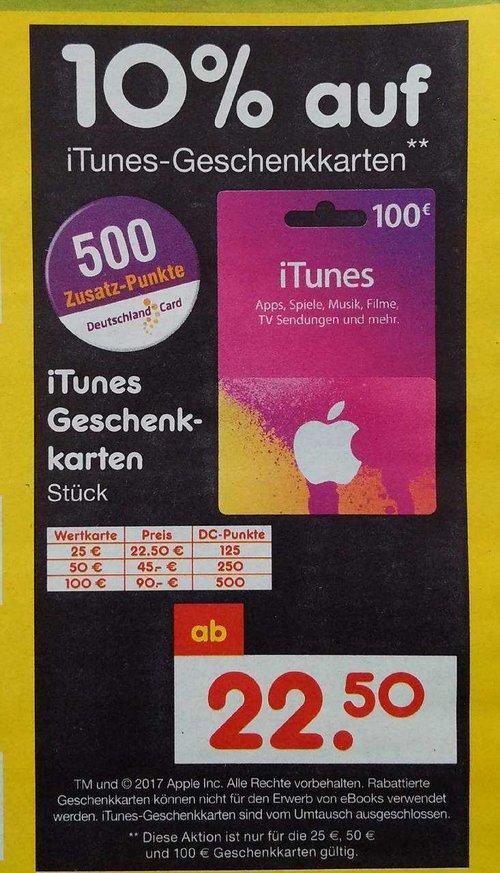 10 Prozent Rabatt auf iTunes -Geschenkkarten - jetzt 10% billiger
