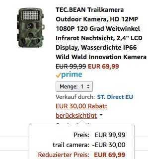 TEC.BEAN Trailkamera Outdoor Kamera, HD 12MP 1080P 120 Grad Weitwinkel Infrarot Nachtsicht - jetzt 30% billiger