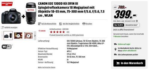 CANON EOS 1300D Kit Spiegelreflexkamera - jetzt 23% billiger