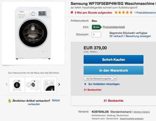 Samsung WF70F5EB Waschmaschine, A+++, Frontlader, 7 kg, Schaumaktiv Technologie, weiß  - jetzt 22% billiger