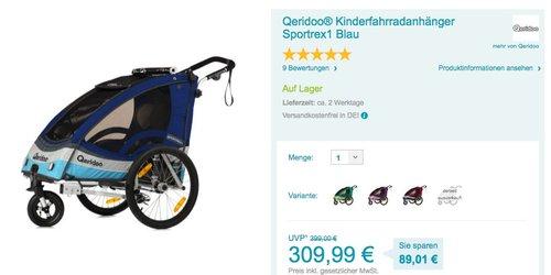 Qeridoo Sportrex1 Kinderfahrradanhänger - jetzt 5% billiger