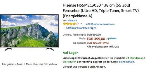 Hisense H55MEC3050 138 cm (55 Zoll) Fernseher (Ultra HD, Triple Tuner, Smart TV) - jetzt 8% billiger