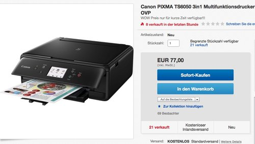 Canon PIXMA TS6050 Farbtintenstrahl-Multifunktionsgerät - jetzt 18% billiger