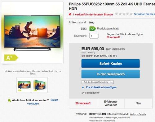 Philips 55PUS6262 139cm (55 Zoll) 4K UHD Ambilight Fernseher  - jetzt 14% billiger