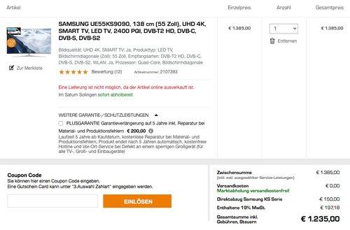 Samsung UE55KS9090 Curved SUHD TV - jetzt 11% billiger