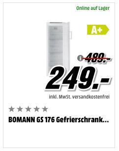 BOMANN GS 176 Gefrierschrank (A+, 292 kWh/Jahr, 1763 mm hoch) - jetzt 47% billiger
