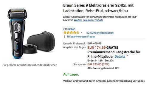 Braun Series 9 Elektrorasierer 9240s, mit Ladestation, Reise-Etui, schwarz/blau - jetzt 16% billiger
