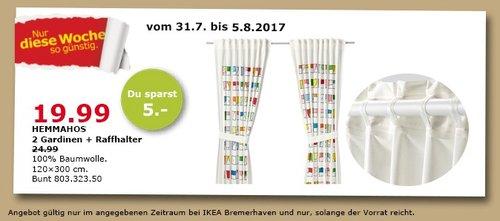 IKEA HEMMAHOS 2 Gardinen + Raffhalter, 120x300cm, bunt - jetzt 20% billiger