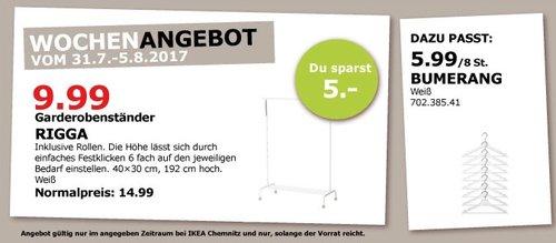IKEA RIGGA Garderobenständer, weiß - jetzt 33% billiger
