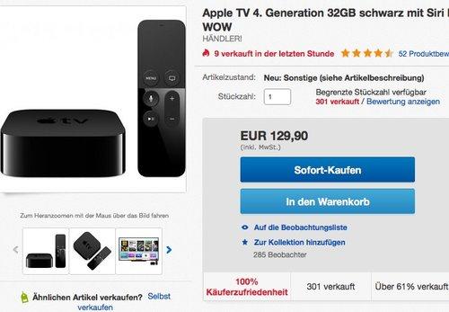 Apple TV 4. Generation 32GB, refurbished Ware - jetzt 13% billiger