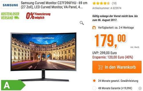 Samsung Curved Monitor C27F396FHU - jetzt 15% billiger