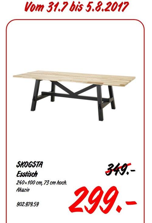 IKEA SKOGSTA Esstisch, 240x100 cm, 75 cm hoch, massive Akazie gebeizt - jetzt 14% billiger