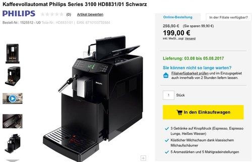 Philips HD8831/01 3100 Serie Kaffeevollautomat - jetzt 33% billiger