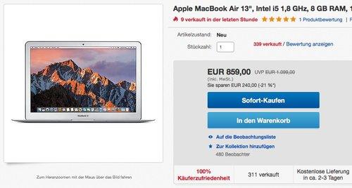 """Apple MacBook Air 13"""", Intel i5 1,8 GHz, 8 GB RAM, 128 GB SSD,2017 - jetzt 10% billiger"""