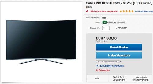Samsung KU6509 163 cm (65 Zoll) Curved Fernseher (Ultra HD, Triple Tuner, Smart TV) - jetzt 10% billiger