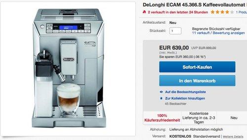DeLonghi ECAM 45.366.S Kaffeevollautomat  - jetzt 15% billiger