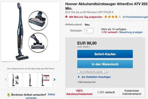 Hoover ATV 252 LT Akku Handstaubsauger - jetzt 32% billiger