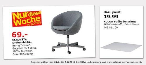 IKEA SKRUVSTA Drehstuhl, grau - jetzt 22% billiger