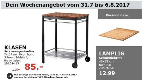 IKEA KLASEN Servierwagen/außen, 74x57 cm, 90 cm hoch, Edelstahl, braun lasiert - jetzt 22% billiger