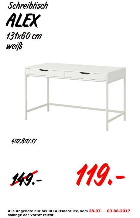 IKEA ALEX Schreibtisch, 131x60 cm, weiß - jetzt 20% billiger