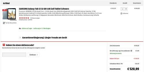 SAMSUNG Galaxy Tab S3 WiFi 32 GB 9.68 Zoll Tablet, Schwarz - jetzt 11% billiger