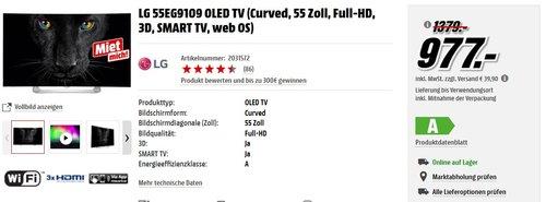 LG 55EG910 OLED TV (139cm / 55 Zoll) Curved Cinema 3D-TV und Magic Remote  - jetzt 23% billiger