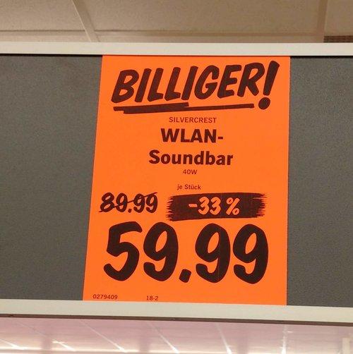 SILVERCREST® WLAN-Soundbar, 40W - jetzt 33% billiger