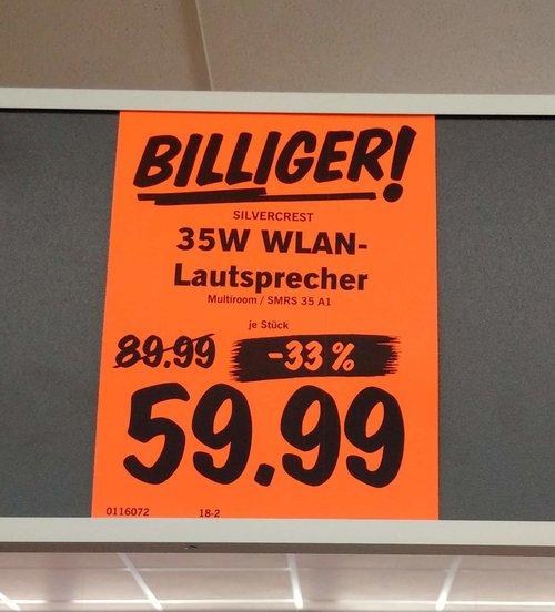 SILVERCREST® WLAN-Lautsprecher, 35 W SMRS 35 A1 - jetzt 33% billiger