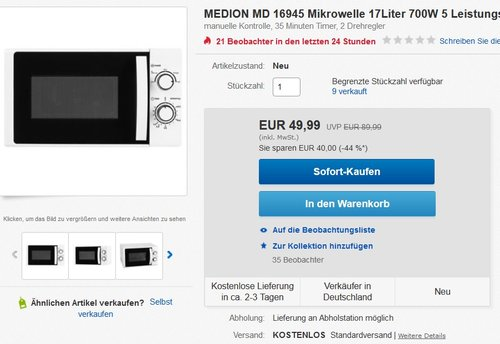 MEDION MD 16945 Mikrowelle 17Liter 700W - jetzt 23% billiger