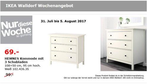 IKEA HEMNES Kommode mit 3 Schubladen, 108x50 cm, 95 cm hoch, weiß gebeizt - jetzt 30% billiger