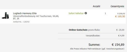 Logitech Harmony Elite - Touchscreen- Fernbedienung für Home Entertainment  - jetzt 25% billiger