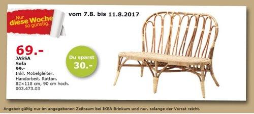 IKEA JASSA Sofa , 82x118 cm, 90 cm hoch, Rattan - jetzt 30% billiger