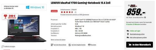 LENOVO IdeaPad Y700 Gaming-Notebook 15.6 Zoll - jetzt 23% billiger