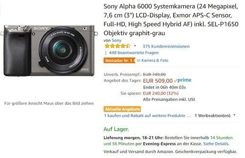 "Sony Alpha 6000 Systemkamera (24 Megapixel, 7,6 cm (3"") LCD-Display, Exmor APS-C Sensor, Full-HD, High Speed Hybrid AF) inkl. SEL-P1650 Objektiv graphit-grau - jetzt 10% billiger"