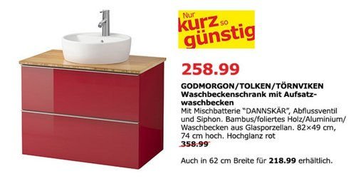 IKEA GODMORGON/ TOLKEN / TÖRNVIKEN Waschbschrank mit Aufsatzwaschbecken, Hochglanz rot - jetzt 28% billiger