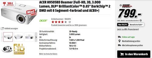 Acer H9505BD High End Full HD 3D DLP-Projektor (Kontrast 10.000:1, 3.000 ANSI Lumen, 3x HDMI 1.4a mit HDCP ) - jetzt 13% billiger