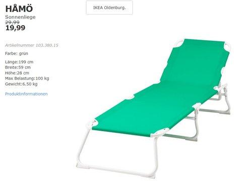 IKEA HAMÖ Sonnenliege, grün - jetzt 33% billiger