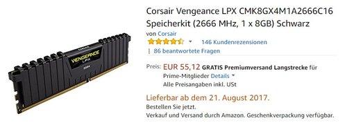 Corsair Vengeance LPX CMK8GX4M1A2666C16 Speicherkit (2666 MHz, 1 x 8GB) Schwarz - jetzt 29% billiger